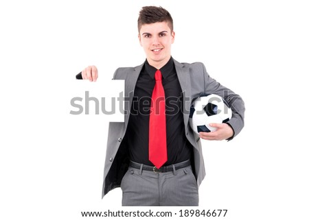 Businessman with soccer ball and white blank card isolated in white - stock photo