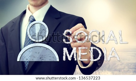 Businessman with Social Media Concept - stock photo