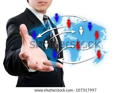 Businessman with social network - stock photo