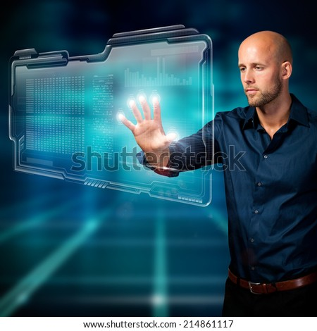 businessman with touch gesture  - stock photo