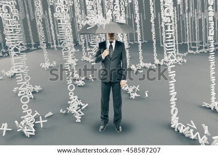Businessman with umbrella in abstract alphabet rain - stock photo