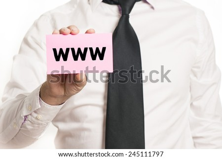 Businessman with with www. Businessman holding paper with www isolated over white background - stock photo