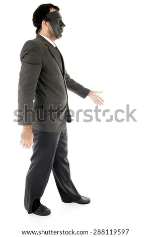 Businessman without face over white background - stock photo