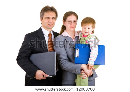 businessman, woman and a child with carpets and laptop - stock photo