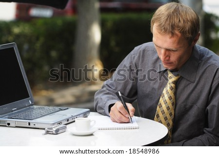 businessman work in cafe - stock photo