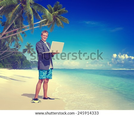 Businessman Working Beach Summer Vacation Travel Concept - stock photo