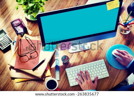 Businessman Working Brainstorming Planning Copy Space Concept - stock photo