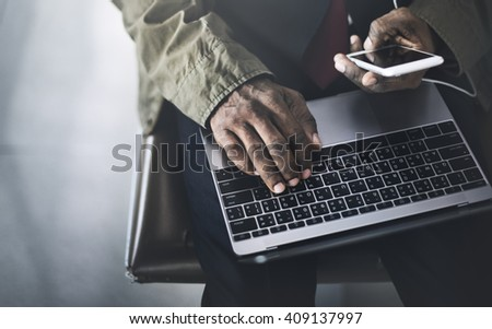 Businessman Working Computer lifestyle Concept - stock photo