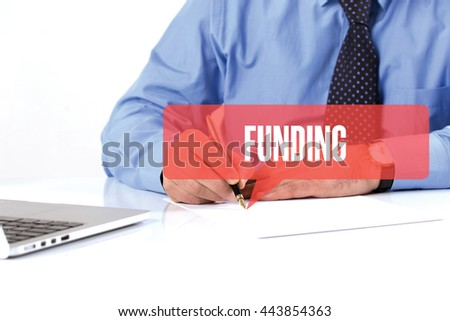 BUSINESSMAN WORKING OFFICE  FUNDING COMMUNICATION SPEECH BUBBLE CONCEPT - stock photo