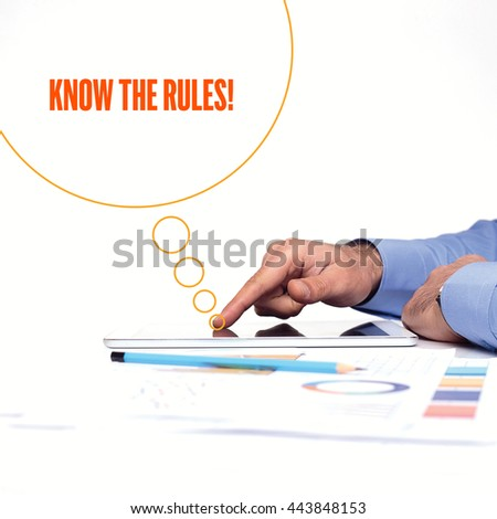 BUSINESSMAN WORKING OFFICE  KNOW THE RULES! COMMUNICATION TECHNOLOGY CONCEPT - stock photo