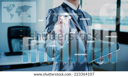 businessman working on bar chart business strategy concept - stock photo