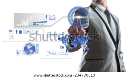 Businessman working on chart, business concept - stock photo