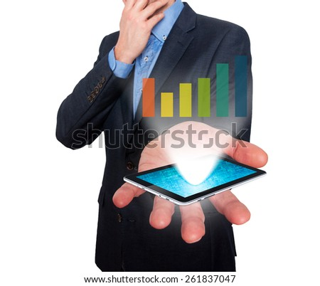 Businessman working on chart, business concept.Touch-pad visual screen. Isolated on white. Stock Photo - stock photo