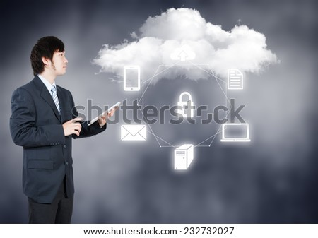Businessman working on cloud computing business security concept - stock photo