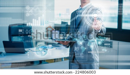 businessman working on 3D bar chart business strategy concept - stock photo