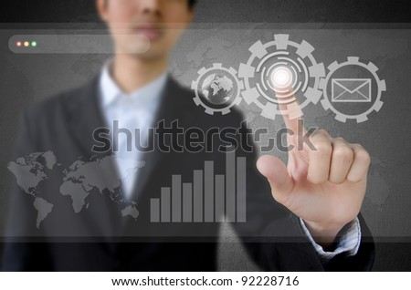 businessman working on modern technology. - stock photo