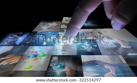 Businessman working on virtual screen.business concept,technology - stock photo
