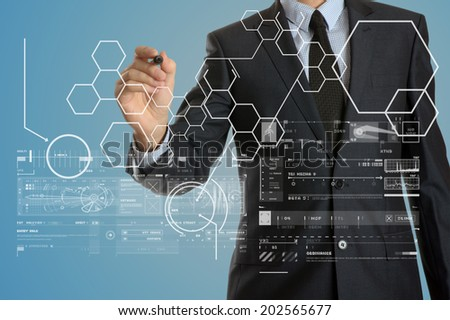 Businessman working with a business plan. Financial, currency, technology and money concept.  - stock photo