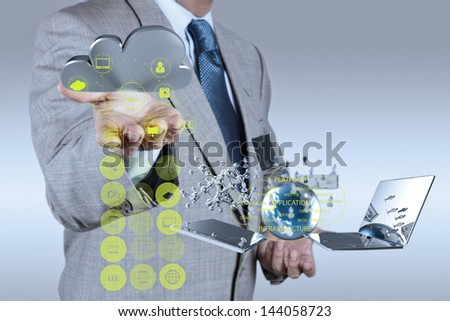 Businessman working with a Cloud Computing diagram on the new computer interface as concept - stock photo