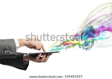 Businessman working with creative touch screen tablet - stock photo