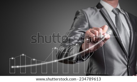 businessman working with digital chart, business improvement concept - stock photo