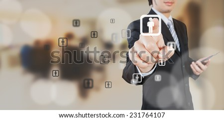 Businessman working with digital visual object, human resource concept - stock photo