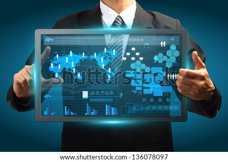Businessman working with digital vurtual screen, Creative network information process diagram - stock photo