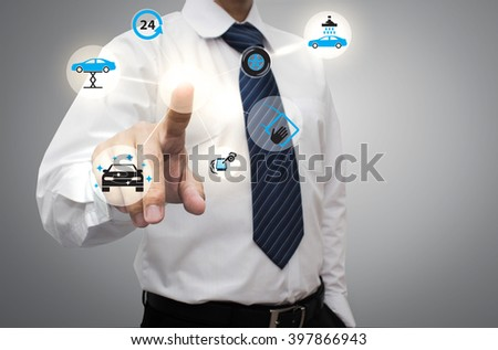 Businessman working with modern virtual technology, hand touching ,Smart Car wash - stock photo