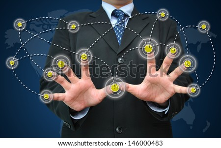 Businessman working with network interface for modern business concept - stock photo