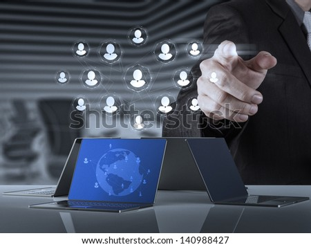 businessman working with new modern computer show social network structure - stock photo