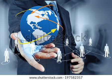 businessman working with new modern computer show social network structure as concept - stock photo