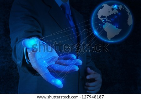 businessman working with new modern computer show social network structure concept - stock photo