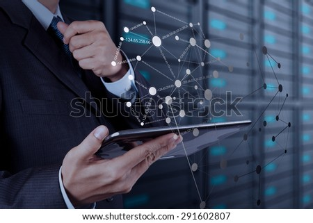 businessman working with new smart phone show social network structure - stock photo
