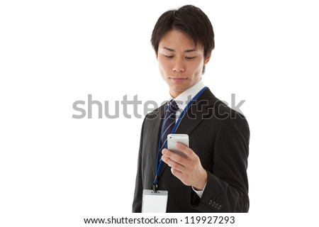 businessman working with smartphon - stock photo