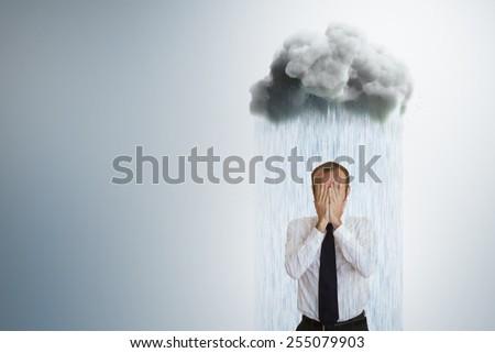 Businessman worried about weather. Original illustration. - stock photo