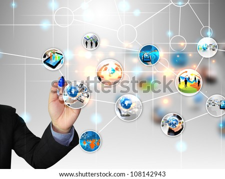 businessman write business world - stock photo