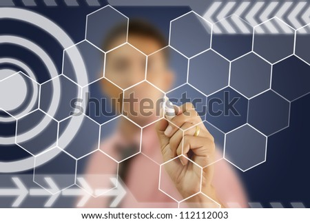 Businessman write digital button on touch screen interface. - stock photo