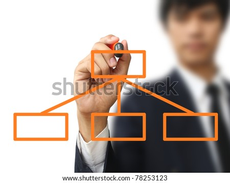 Businessman write flow chart - stock photo