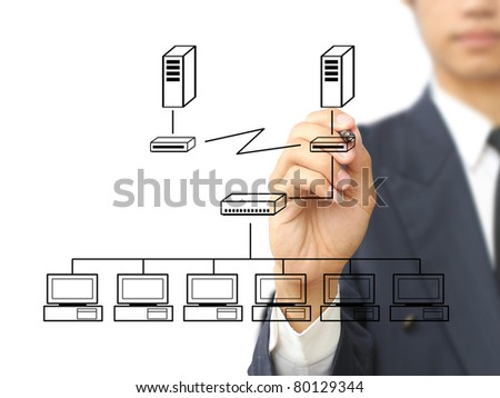 Businessman write multi point connection - stock photo