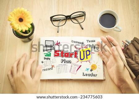 "Businessman write Notebook word ""Start up"" - stock photo"