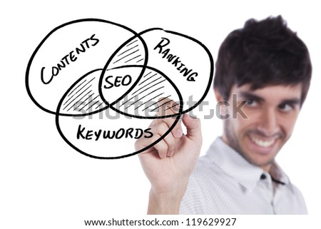 Businessman writing a SEO diagram on the whiteboard - stock photo