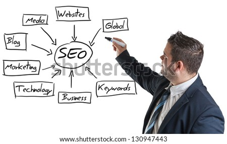 businessman writing a SEO schema on the whiteboard - stock photo