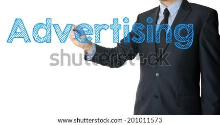 businessman writing advertising - stock photo