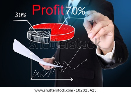 Businessman writing benifit market  for show case to team - stock photo
