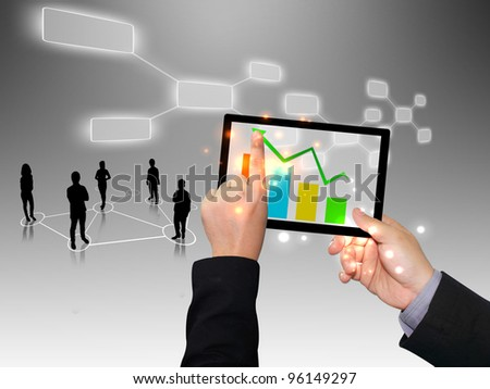 Businessman writing graph - stock photo