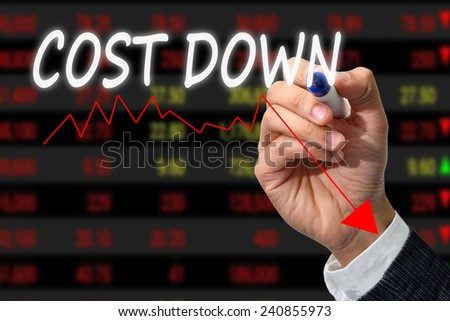 businessman writing graph of cost down. - stock photo