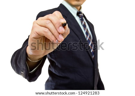 Businessman writing growing graph in studio with clipping path - stock photo