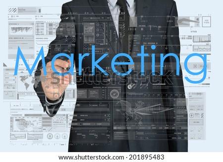 businessman writing marketing - stock photo