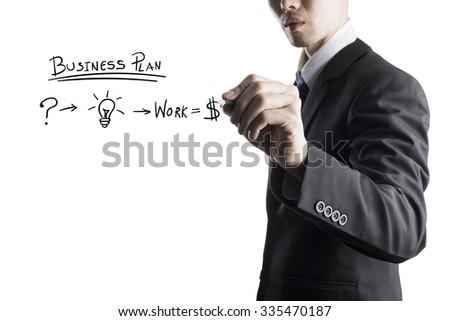 Businessman Writing On Transparent Screen - stock photo