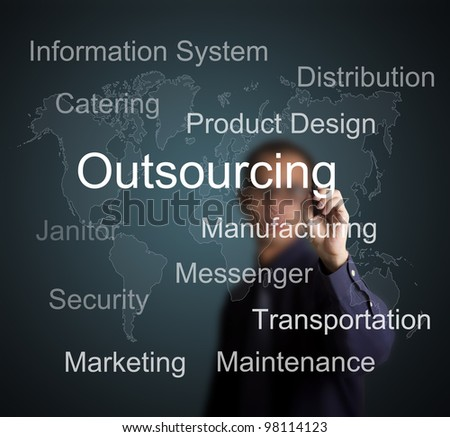 businessman writing outsourcing concept for business with world map background - stock photo